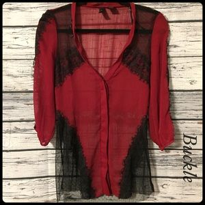 Buckle red & black sheer lace v neck blouse